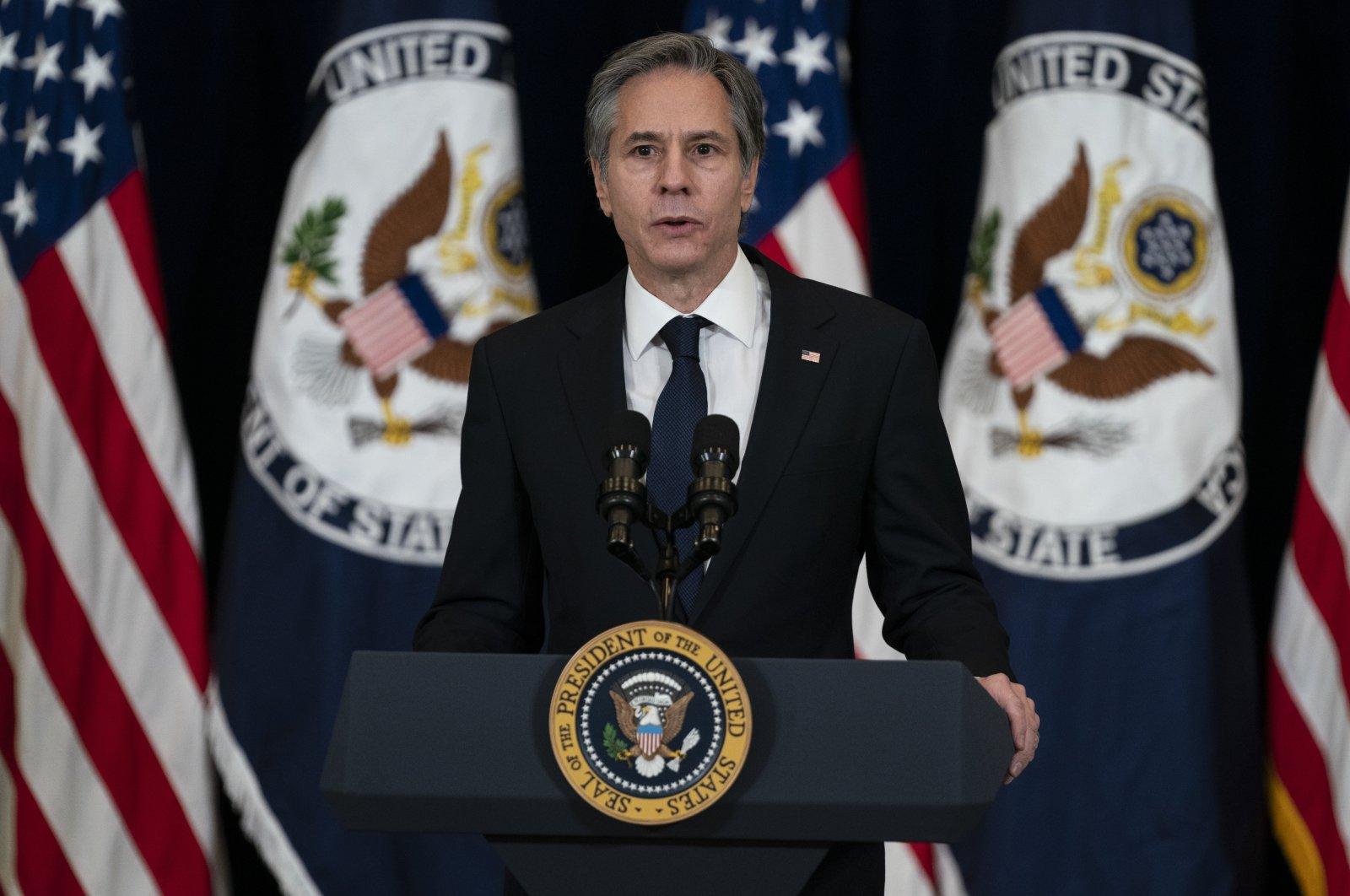 Secretary of State Antony Blinken speaks at the State Department in Washington on Feb. 4, 2021 (AP File Photo)