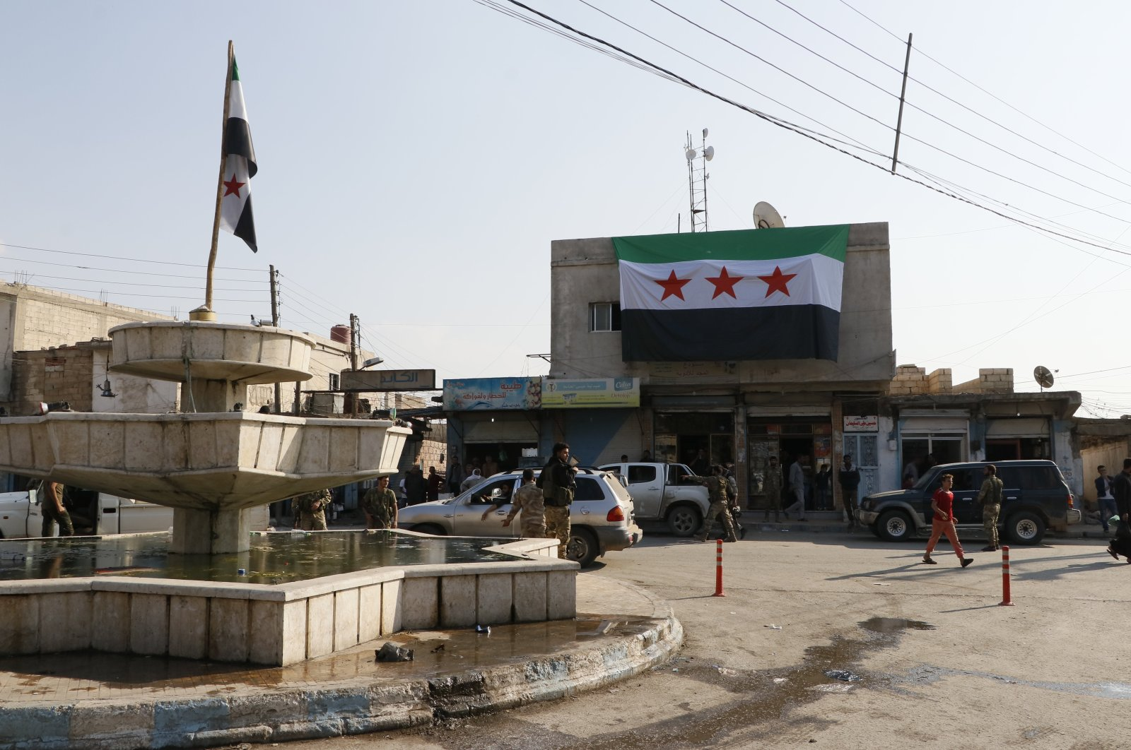 The Syrian National Army (SNA) flag is seen in the town center of Tal Abyad district, Syria, Dec. 31, 2019. (AA File Photo)