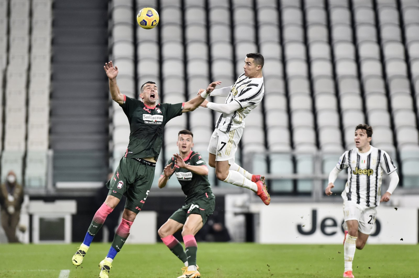 Juventus' Cristiano Ronaldo (C) scores his side's second goal against Crotone, Allianz Stadium, Turin, Italy, Feb. 22, 2021. (Reuters Photo)