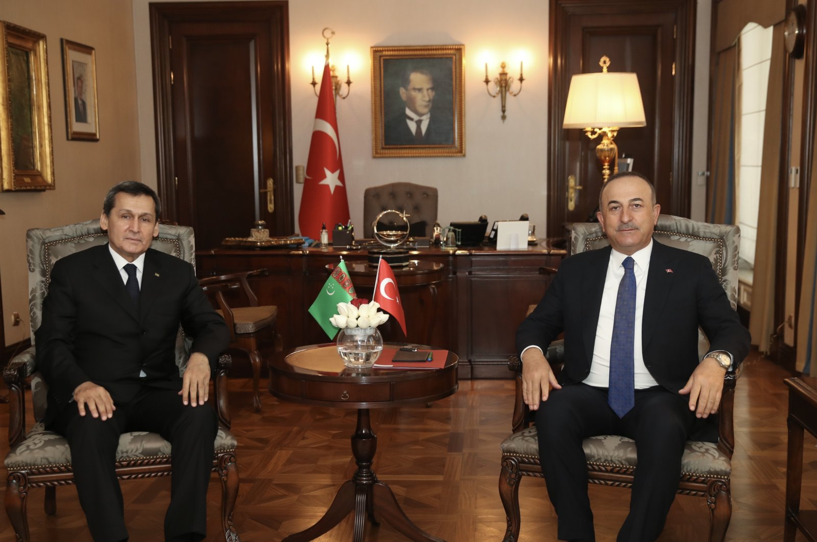 Foreign Minister Mevlüt Çavuşoğlu with his Turkmen counterpart Rashid Meredov in Ankara, Feb. 23, 2021. (AA Photo)