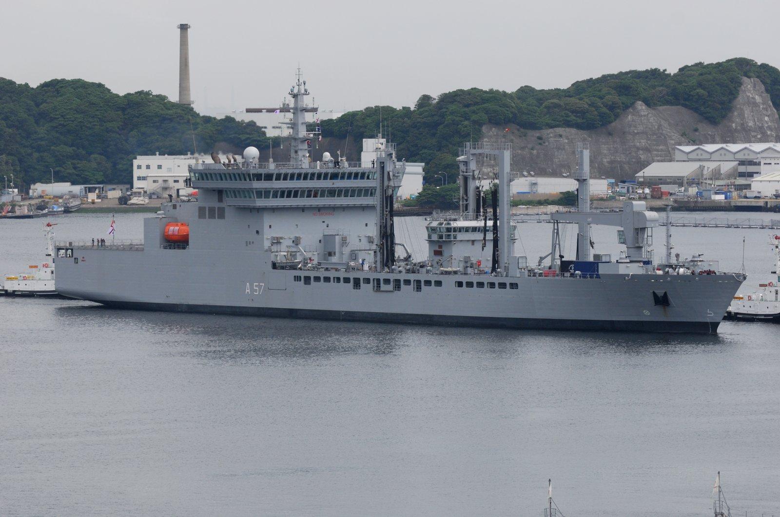 Indian Navy INS Shakti (A57), a Deepak-class fleet tanker, is seen off the shore of Kanagawa, Japan, June 5, 2012. (Shutterstock)