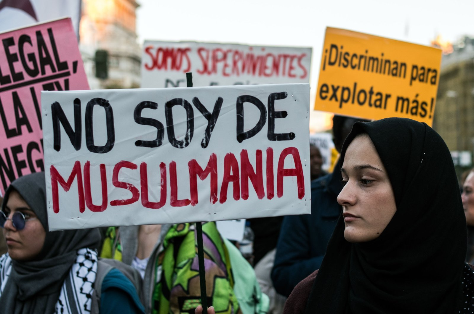 A woman protests against racism, Madrid, Spain, Nov 12, 2017. (Getty Images)