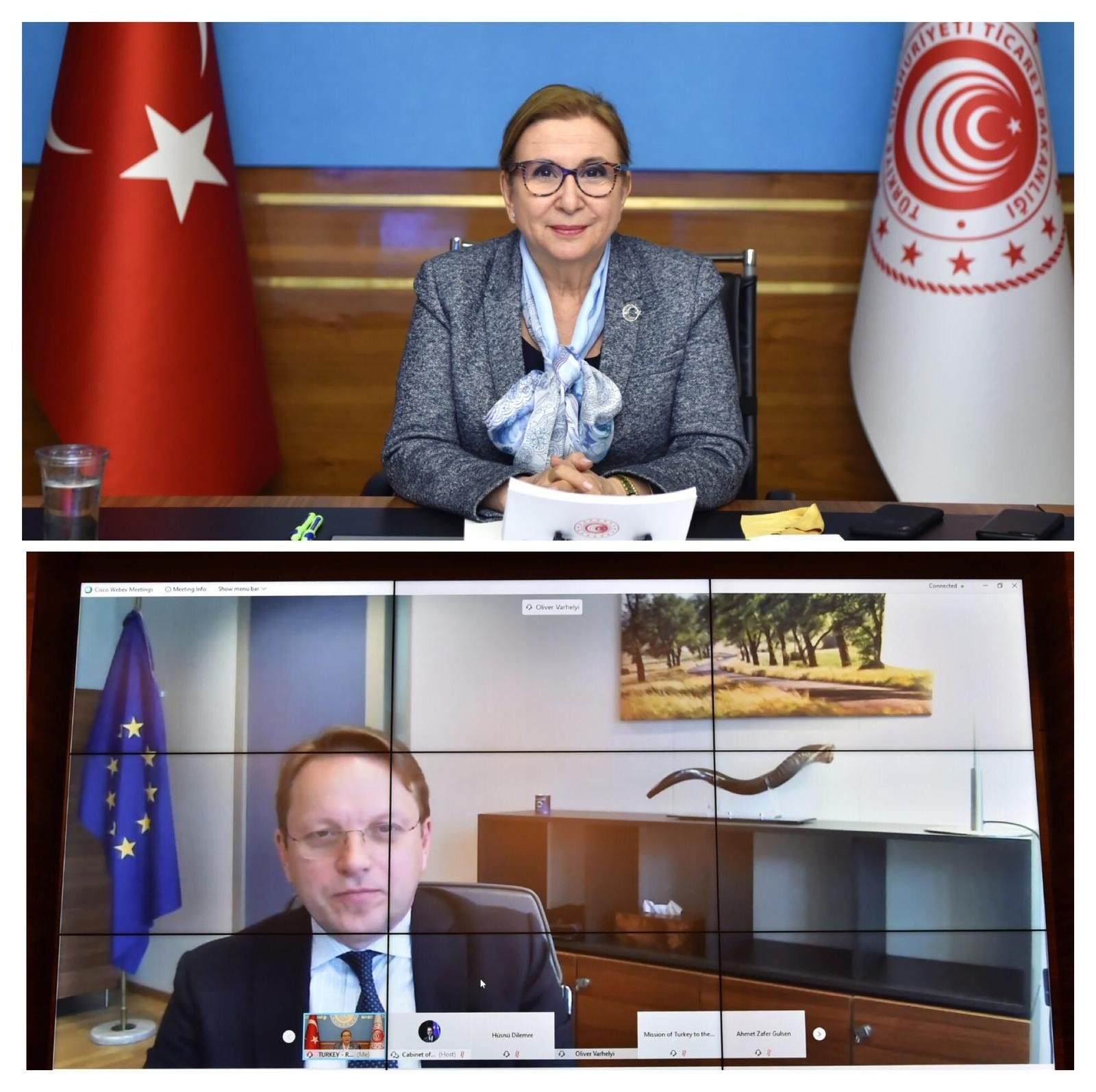 Turkey's Trade Minister Ruhsar Pekcan (above) andEuropean Neighborhood and Enlargement Commissioner Oliver Varhelyi during their virtual meeting, Feb. 23, 2021. (IHA Photo)
