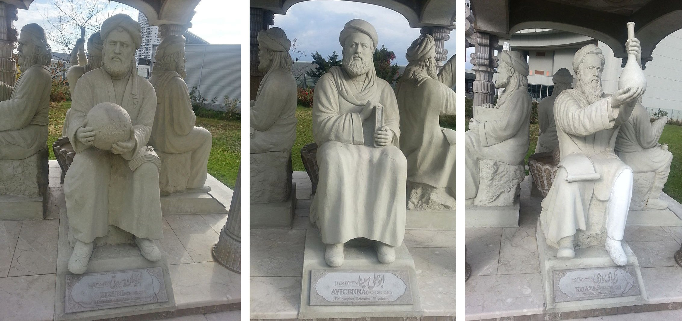 From left to right, the statues of Al-Biruni, Ibn Sina and Al-Razi in the Scholars Pavilion at the United Nations Office, Vienna, Austria.