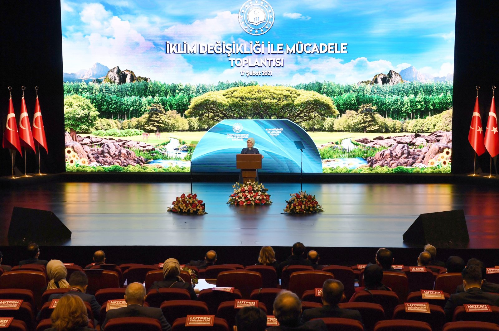First lady Emine Erdoğan delivers a speech during a ceremony on the government's new road map on climate change, the capital Ankara, Turkey, Feb. 17, 2021. (AAPhoto)