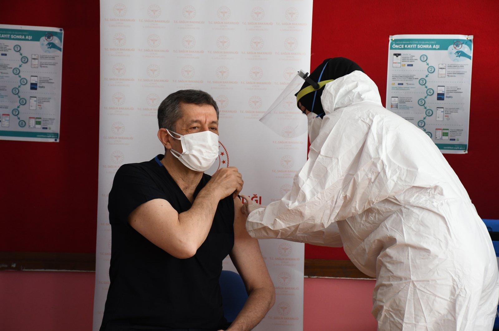 Minister of National Education Ziya Selçuk gets vaccinated, in Çorum, northern Turkey, Feb. 24, 2021. (AA Photo)