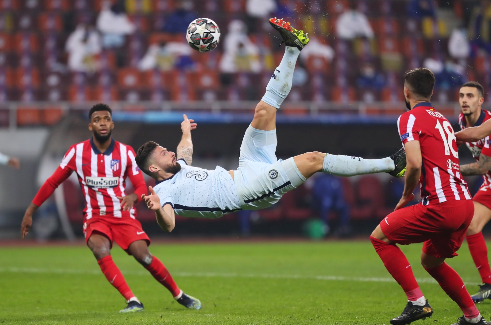 Chelsea's Olivier Giroud scores his side's only goalagainst Atletico Madrid in the UEFA Champions League last 16 match at the Arena Nationala, Bucharest, Romania,Feb. 23, 2021.