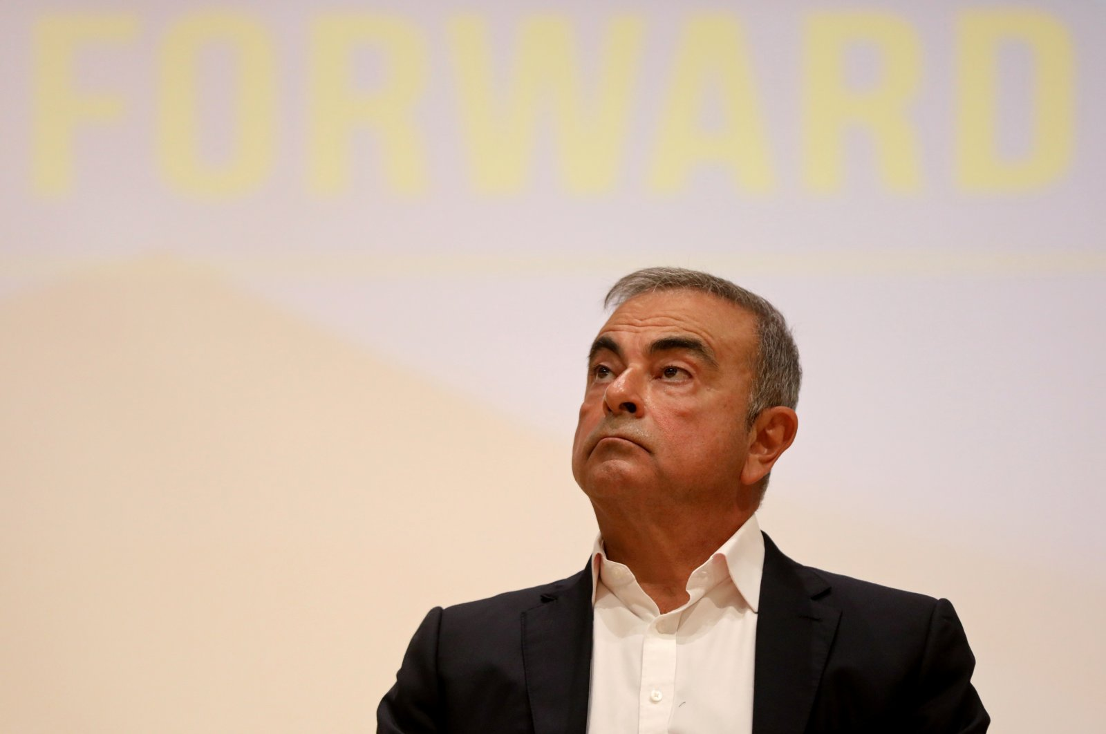 Carlos Ghosn, the former Nissan and Renault chief executive, looks on during a news conference at the Holy Spirit University of Kaslik, in Jounieh, Lebanon, Sept. 29, 2020. (Reuters Photo)