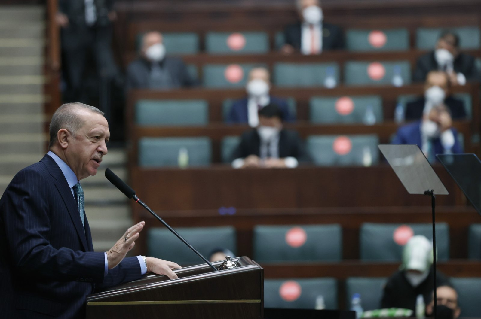 President Recep Tayyip Erdoğan speaks at the Justice and Development Party's (AK Party) Parliamentary Group meeting at the Turkish Parliament on Feb. 24, 2021. (IHA Photo)