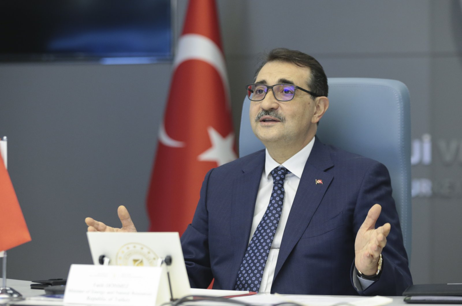 Energy and Natural Resources Minister Fatih Dönmez speaks during the Turkic council energy ministeries meeting held online, Ankara, Turkey, Feb. 24, 2021. (AA Photo)
