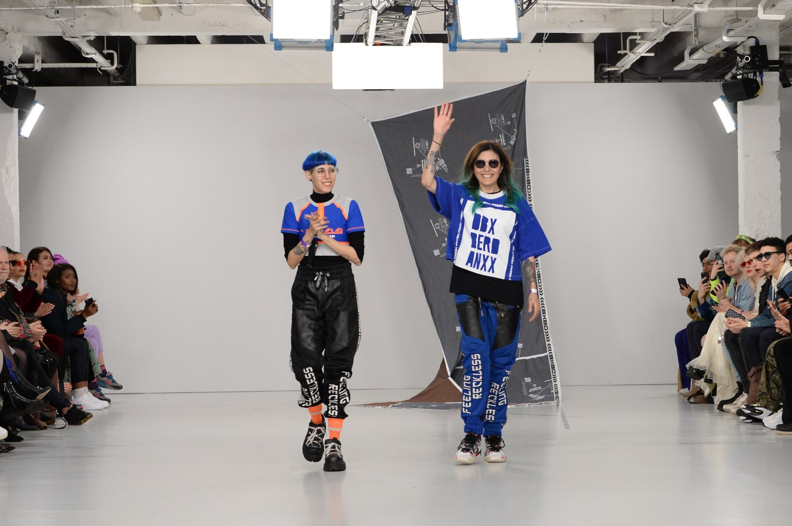 Designers Begüm Berdan (L) and Deniz Berdan walk the runway at the DB Berdan show during London Fashion Week at the Fashion Scout Venue on February 15, 2020 in London, England. (Getty Images for BFC)