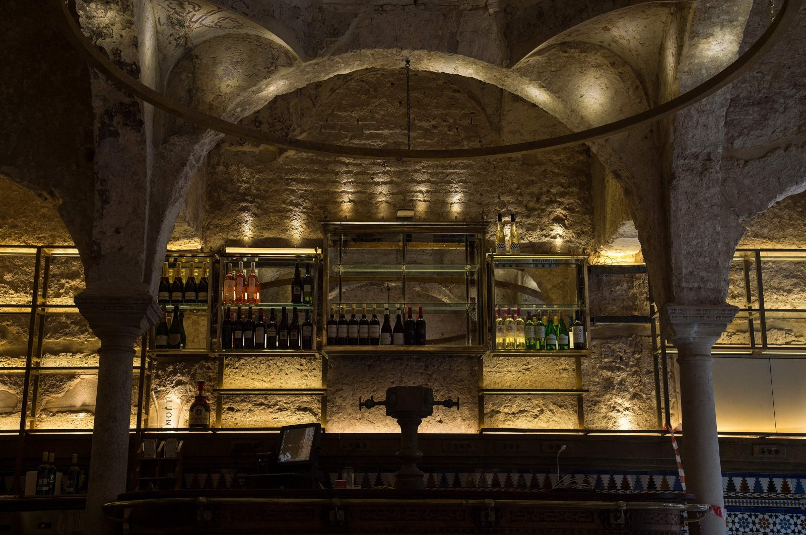 The counter of the Giralda Bar and the Islamic architecture can be seen in the photo, Seville, Spain, Feb. 22, 2021. (AFP Photo)