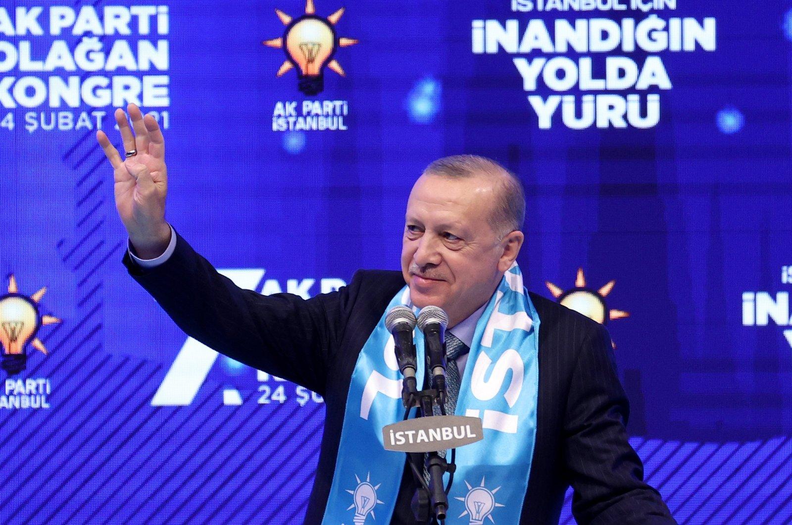President Recep Tayyip Erdoğan speaks at the 7th Istanbul Provincial Congress, Istanbul, Turkey, Feb. 24, 2021. (AA Photo)