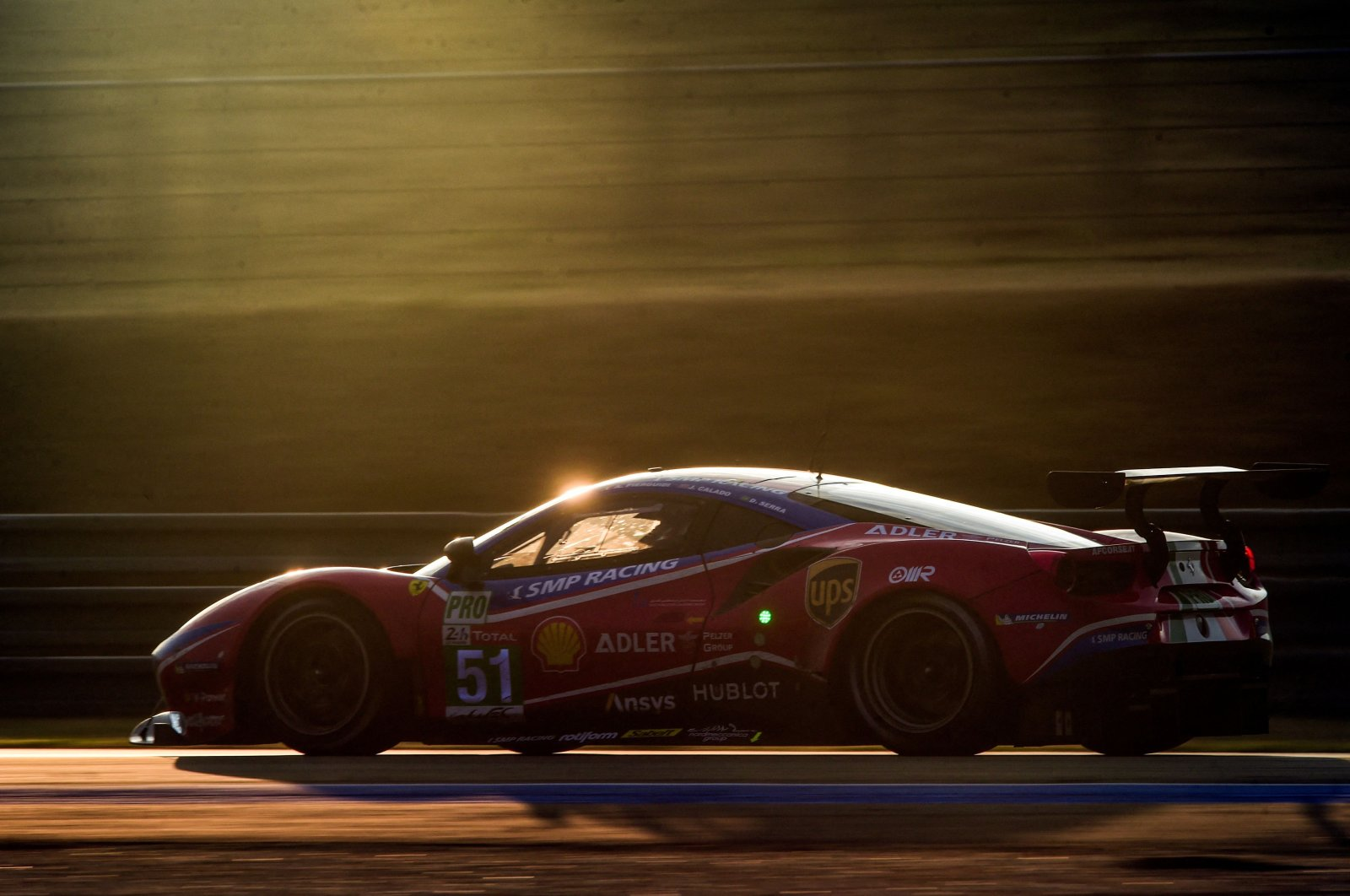 Italian driver Alessandro Pier Guidi competes with his Ferrari 488 GTE EVO during the 88th edition of the Le Mans 24 Hours endurance race, at Le Mans, northwestern France, on Sept. 20, 2020. (AFP Photo)