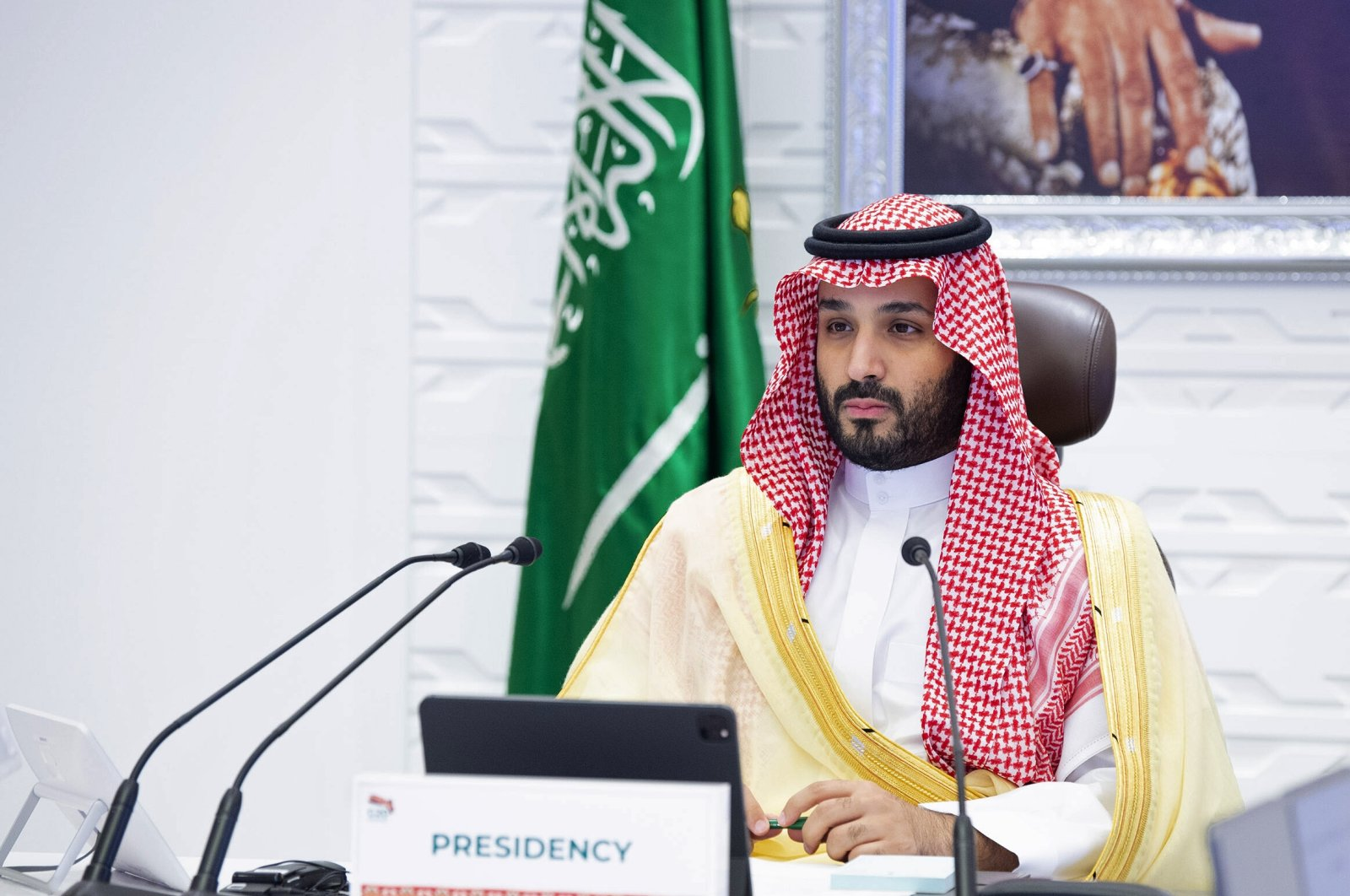 Saudi Arabia's Crown Prince Mohammed bin Salman (MBS) attends a virtual G-20 summit, in Riyadh, Saudi Arabia, Nov. 22, 2020. (AP Photo)
