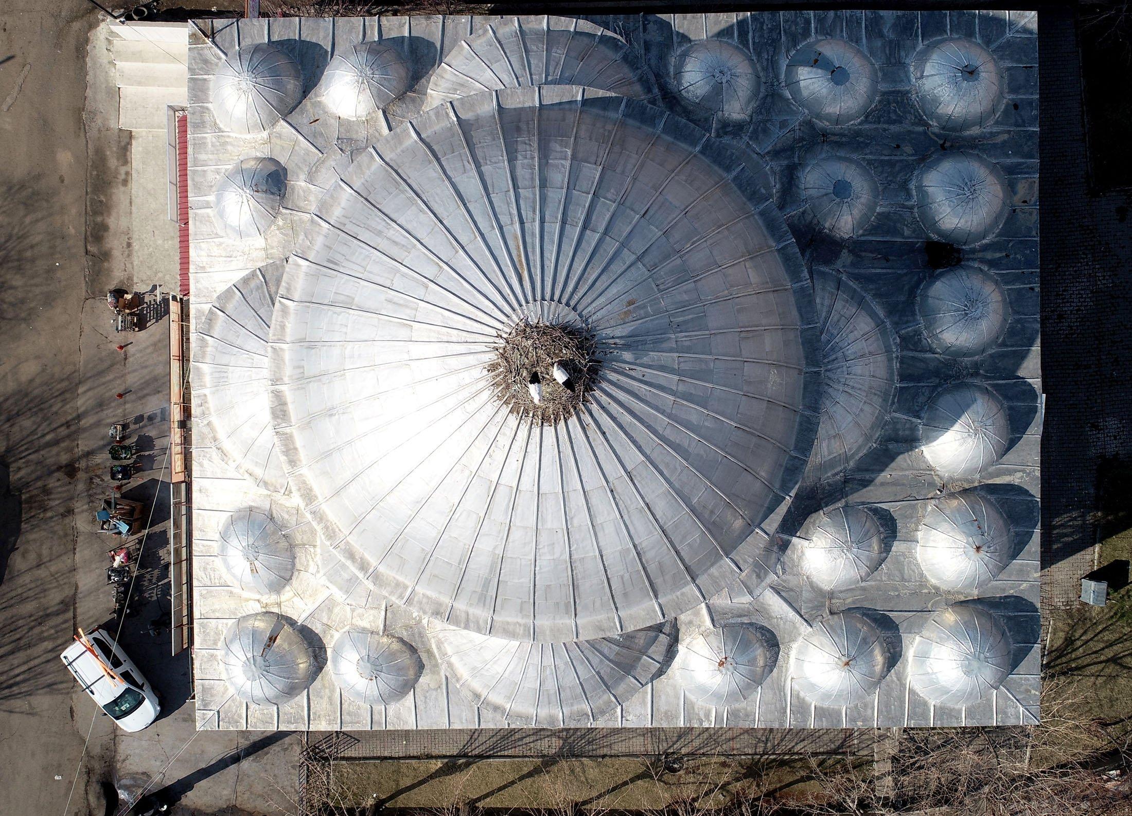 Türkiye'nin güneydoğusunda Pingal'da son dört yıldır iki leyleğe ev sahipliği yapan Sanay Citesi Camii ve Kubbesi manzarası.  (AA fotoğraf)