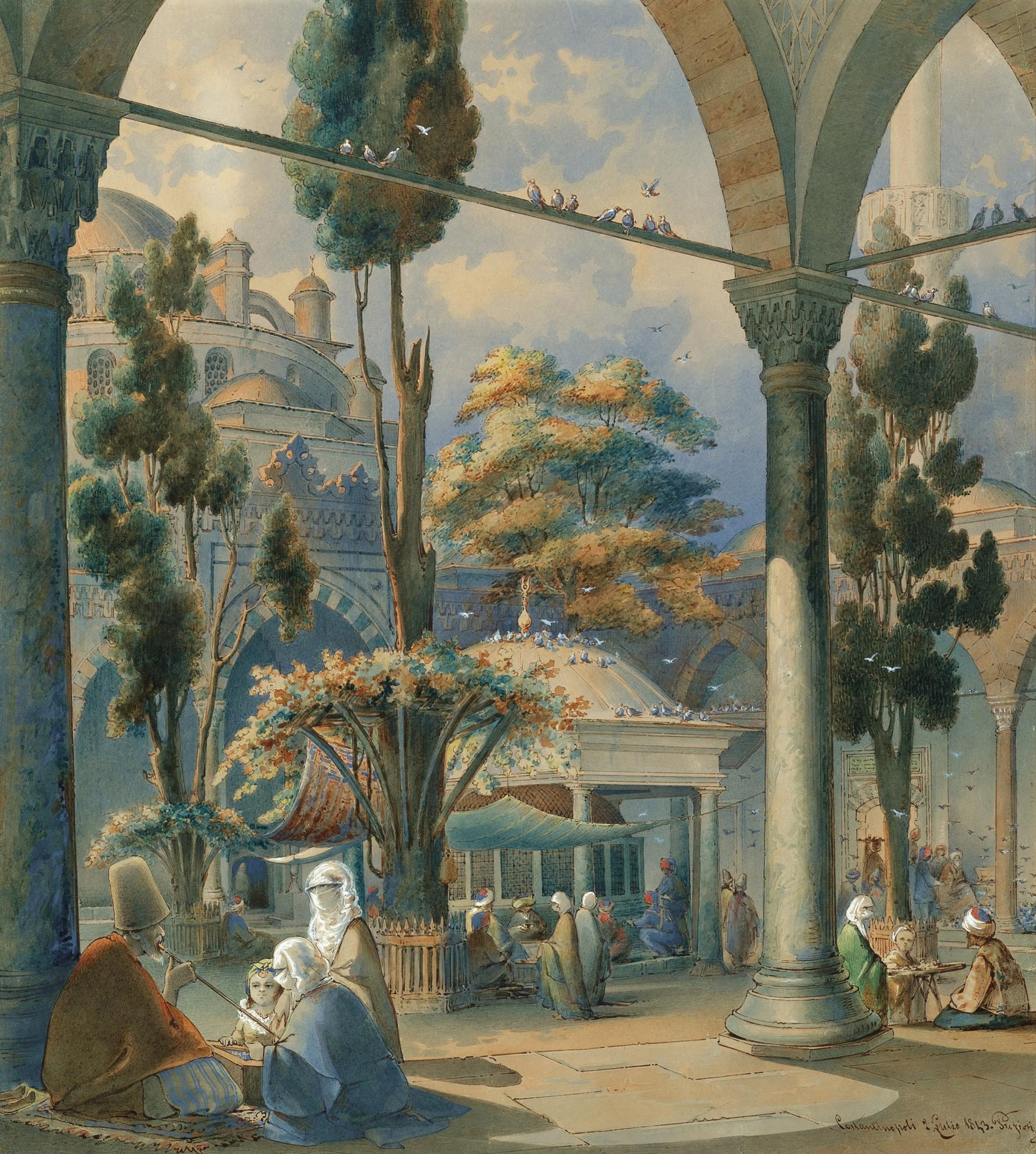 A painting by Amedeo Preziosi depicts the courtyard of the Bayezid Mosque in Istanbul. (Getty Images)