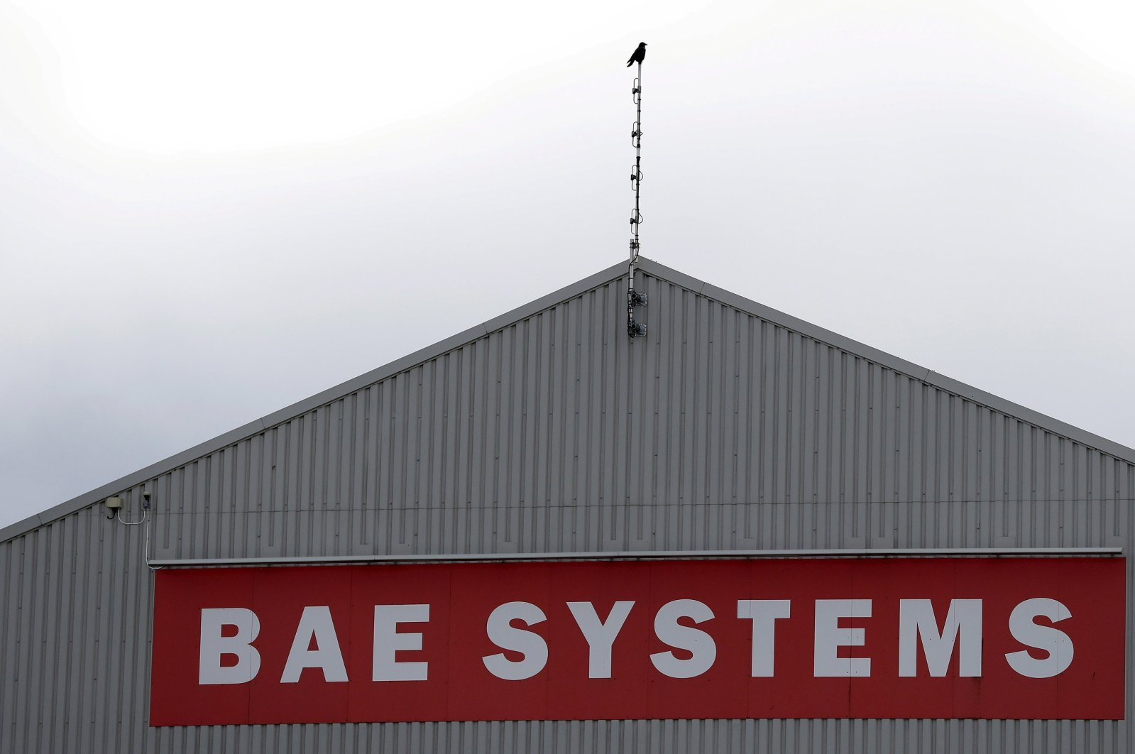 A sign adorns a hangar at the BAE Systems facility at Salmesbury, near Preston, northern England, March 10, 2016.  (Reuters Photo)