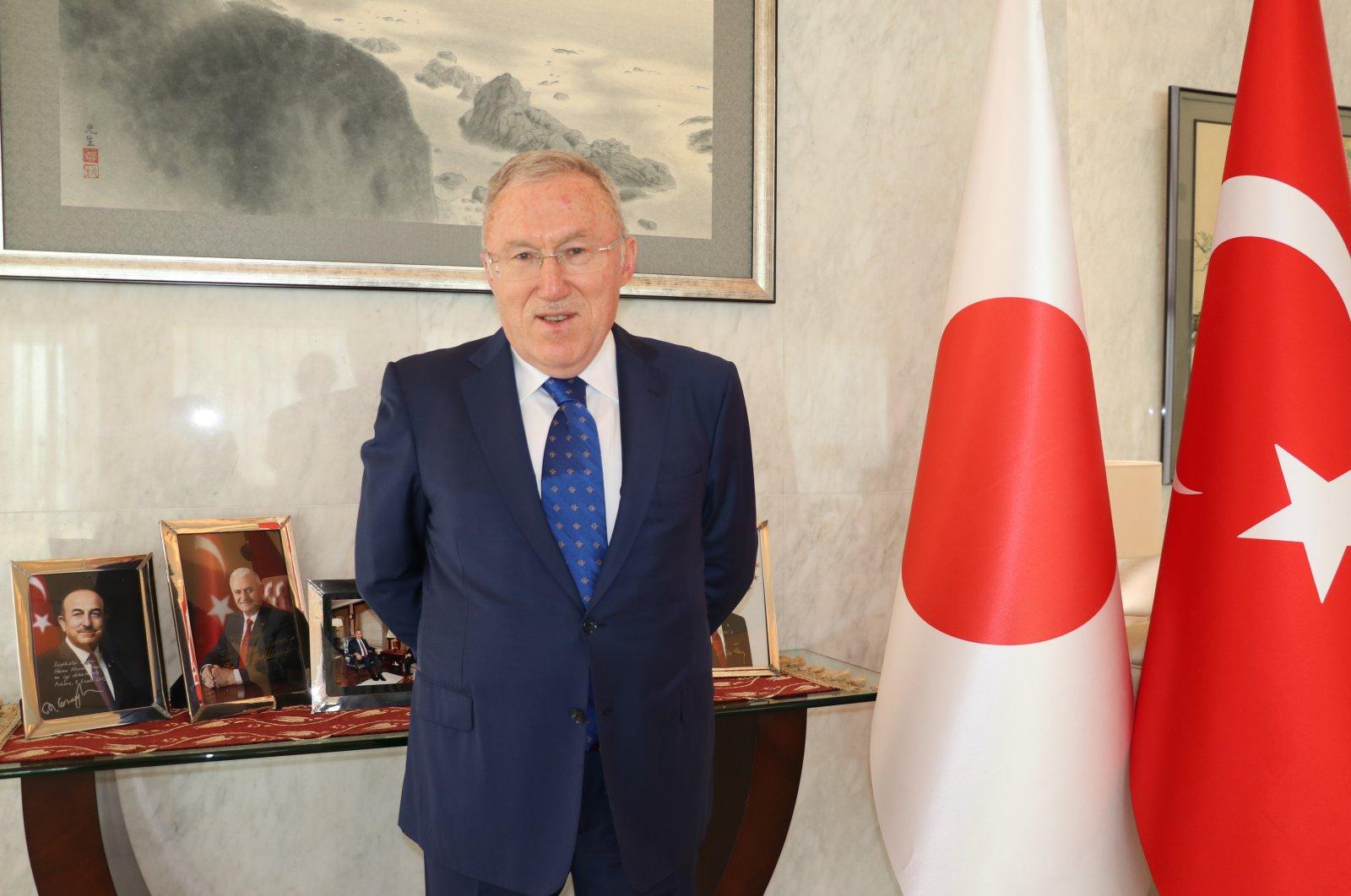 Turkish envoy Hasan Murat Mercan at Turkey's Embassy in Tokyo, Japan, Feb. 25, 2021. (AA)