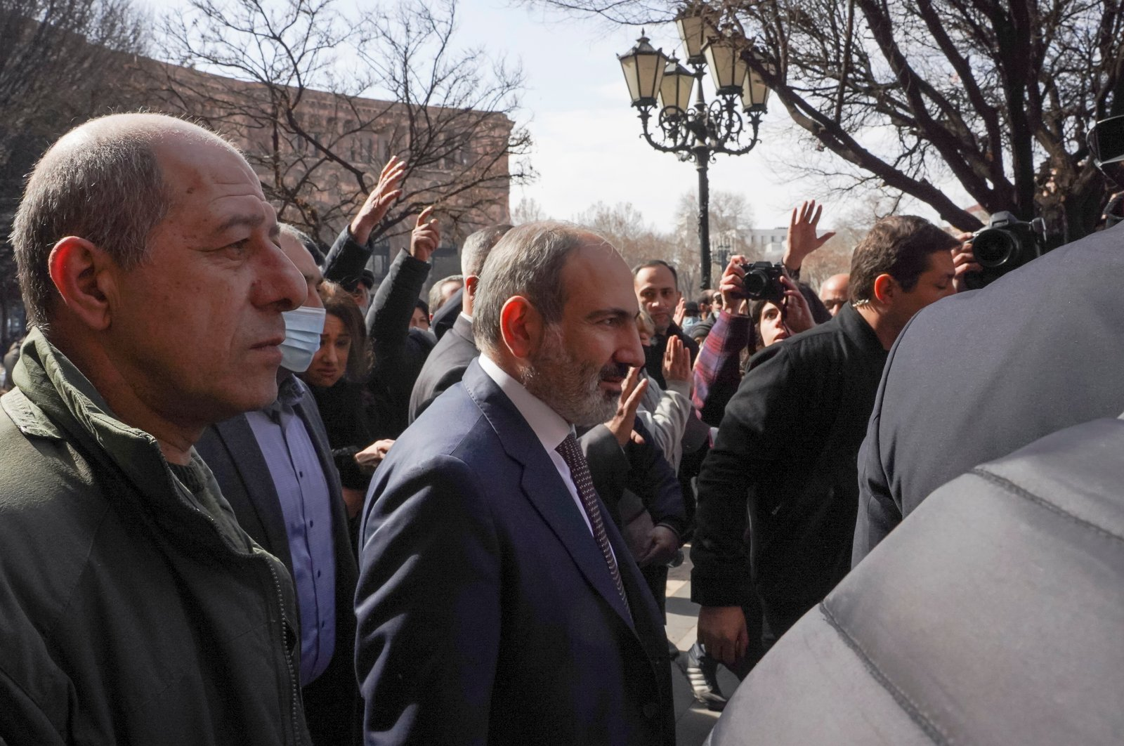 Armenian Prime Minister Nikol Pashinian meets with participants of a gathering after he called on followers to rally in the centre of Yerevan, Armenia, Feb. 25, 2021. (Reuters Photo)