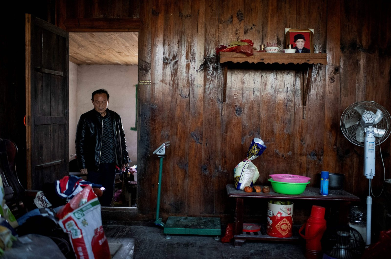A farmer at his residence in Baojing County, in central Hunan province, China, Jan. 12, 2021. (AFP Photo)