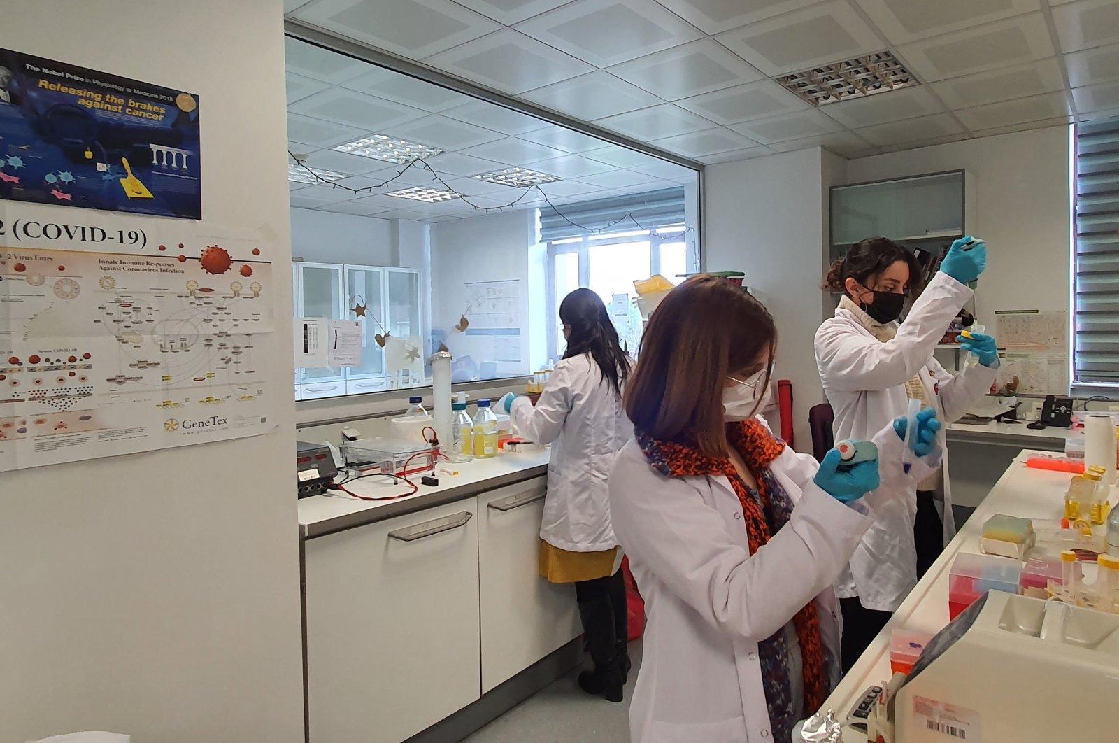 Scientists work at the laboratory at Boğaziçi University, in Istanbul, Turkey, Feb. 25, 2021. (DHA PHOTO)