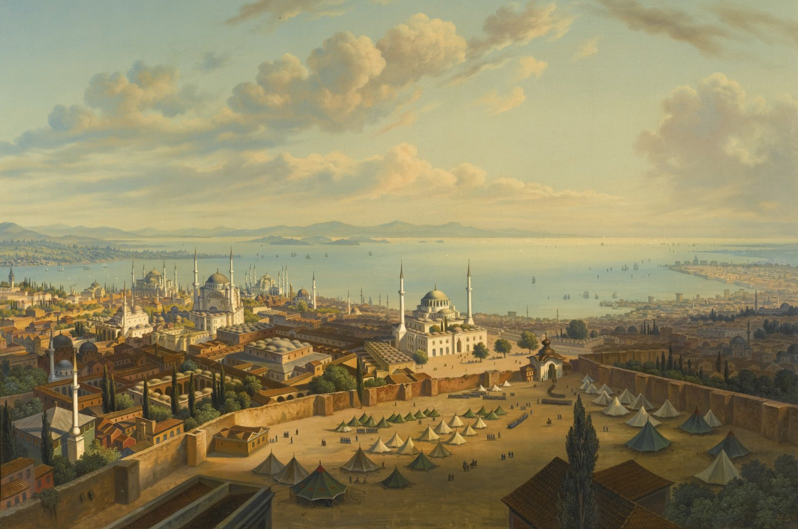 A painting by Hubert Sattler depicts the Beyazıt Square when a part of the Old Palace was allocated to military authorities. (Getty Images)
