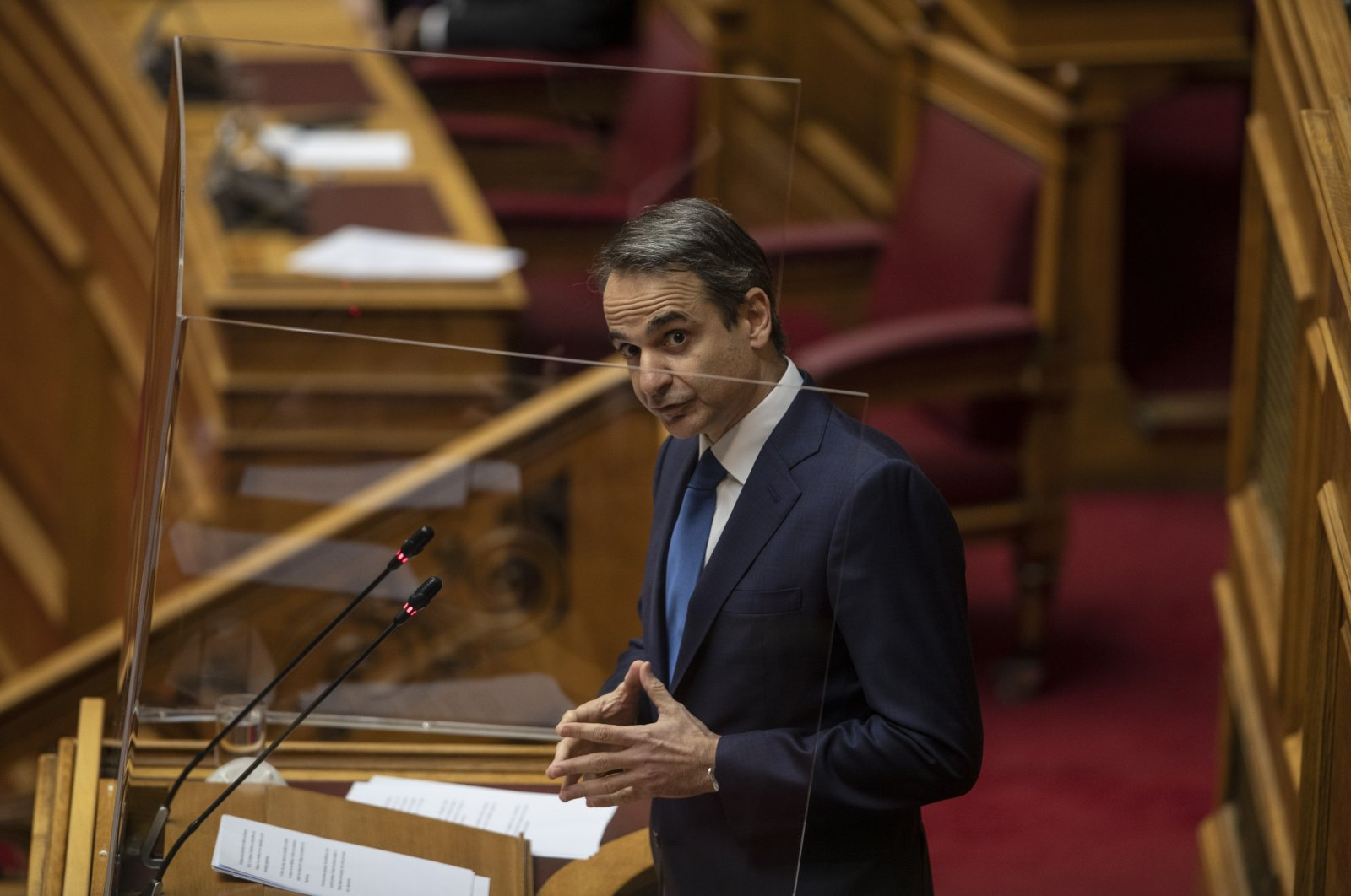 Greek Prime Minister Kyriakos Mitsotakis speaks during a parliamentary session in Athens, Greece, Feb. 25, 2021. (AP Photo)