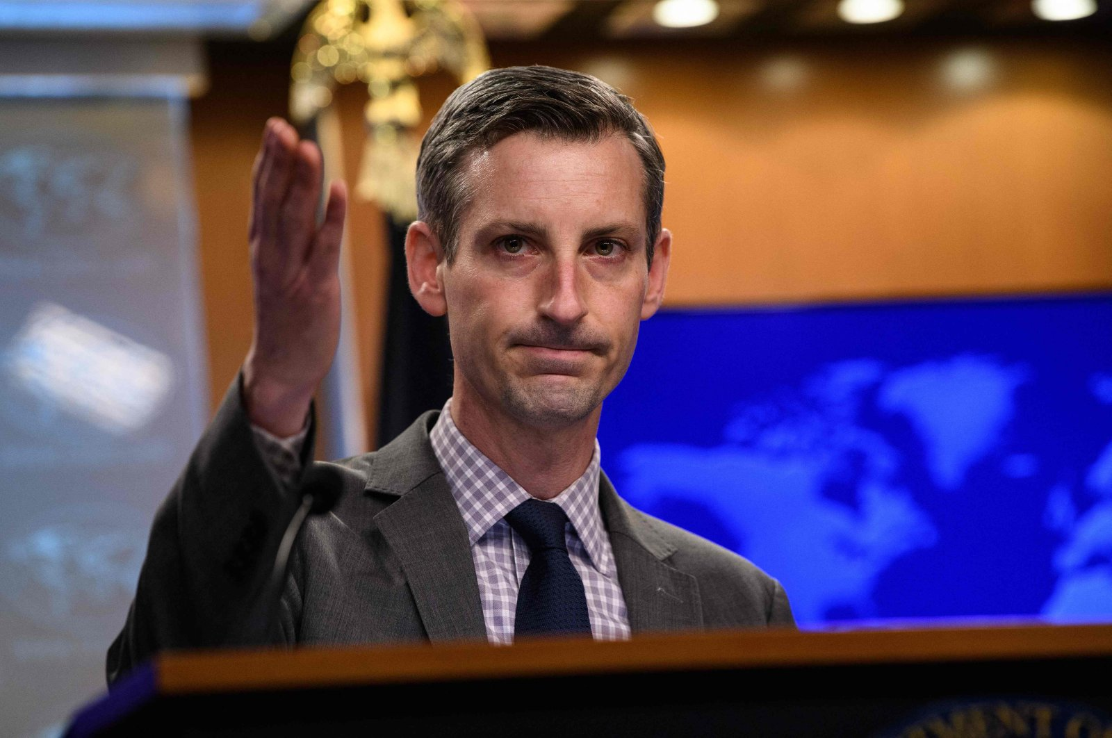 U.S. State Department spokesperson Ned Price gestures as he speaks during the daily press briefing at the State Department in Washington, D.C., on Feb. 25, 2021. (AFP Photo)