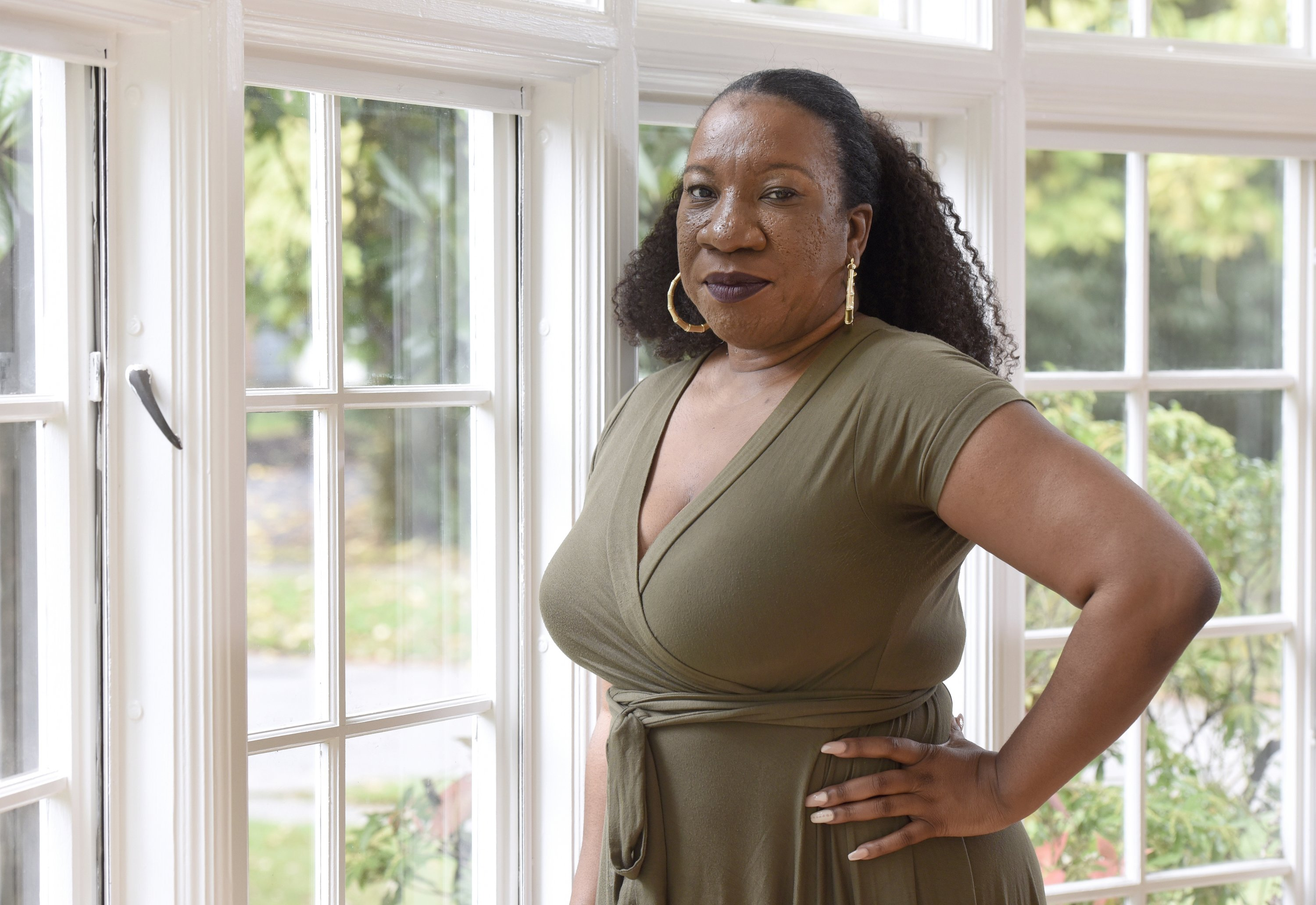 Tarana Burke, founder and leader of the #MeToo movement, stands in her home in Baltimore, U.S., Oct. 13, 2020. (AP Photo)