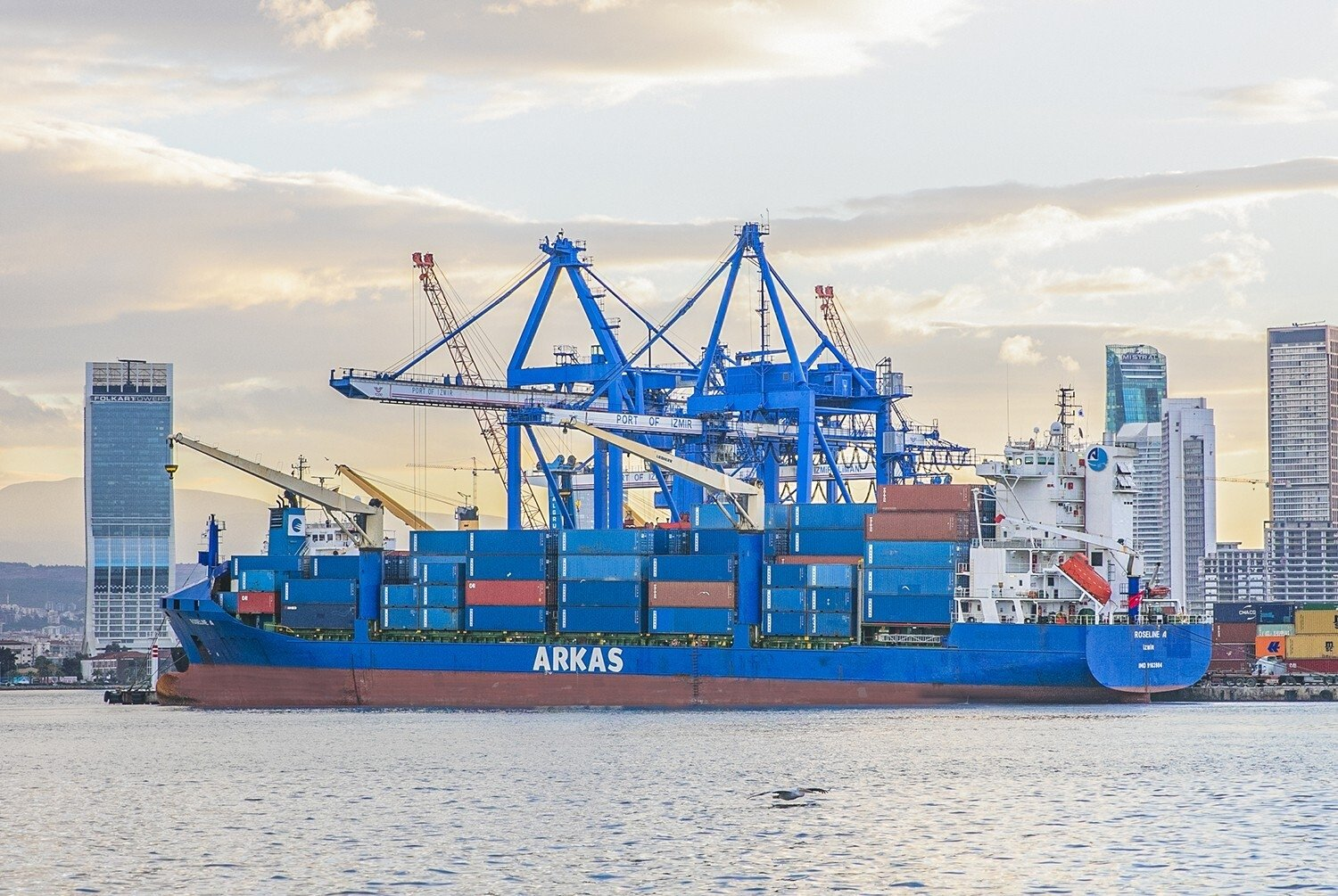 A container ship docks at the Port of Izmir in western Turkey, Dec. 10, 2020. (IHA Photo)