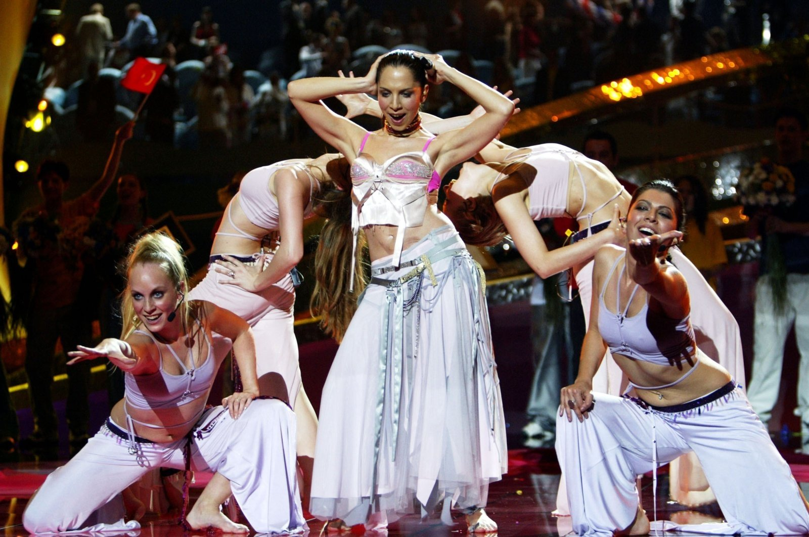 """Sertab Erener performs """"Every Way That I Can"""" during the 48th Eurovision Song Contest in Riga, Latvia, May 24, 2003. (Getty Images)"""