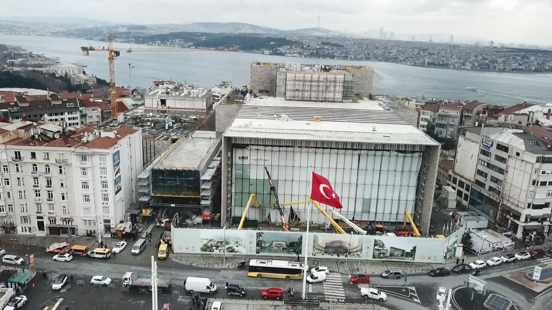 An aerial view of the ongoing construction at Atatürk Cultural Center, Taksim Square, Istanbul, Feb. 26, 2020. (DHA PHOTO)