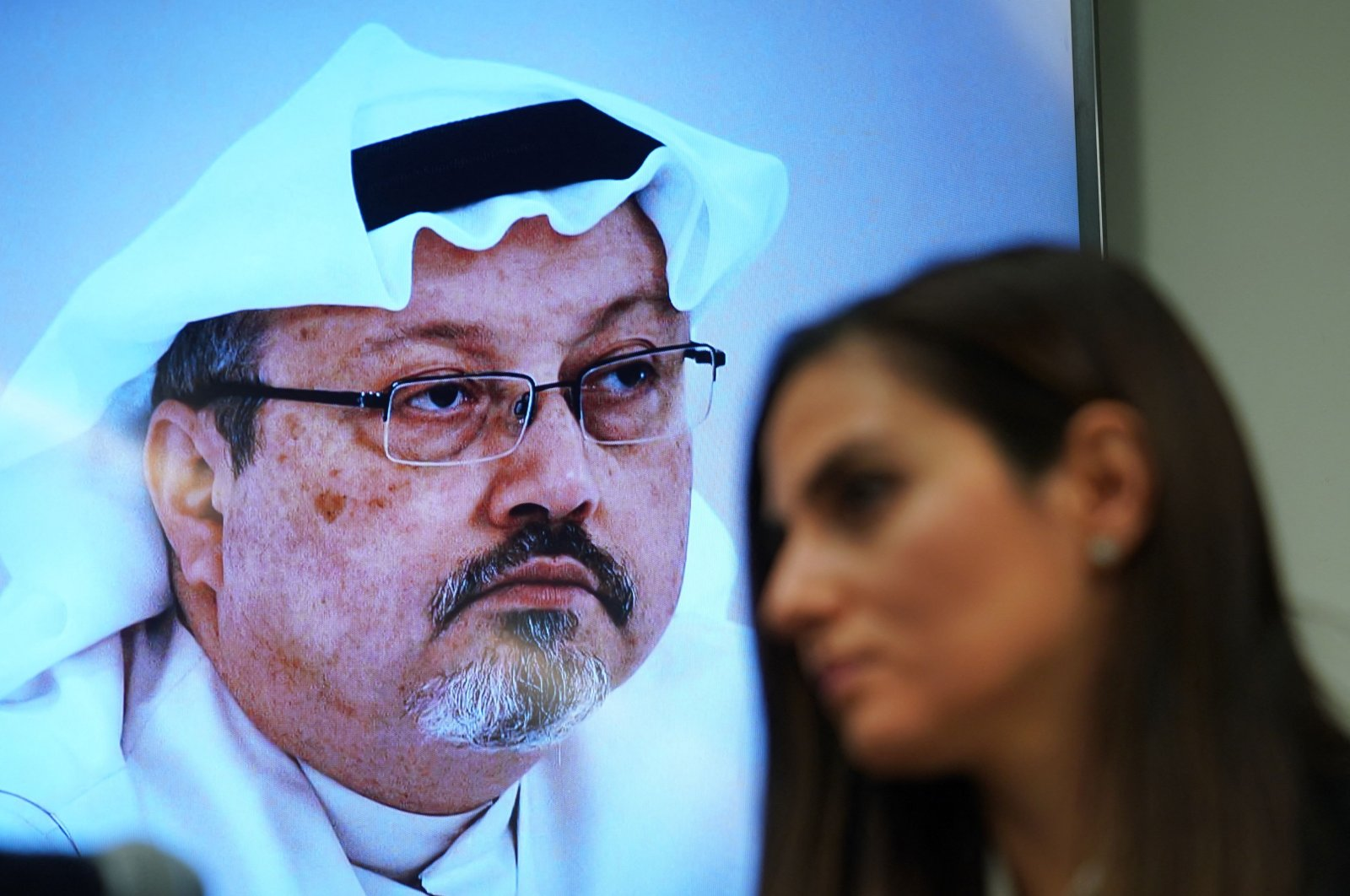 Sherine Tadros, head of New York (UN) Office of Amnesty International, speaks during a news conference at the United Nations next to a photo of Jamal Khashoggi, Oct. 18, 2018. (AFP Photo)