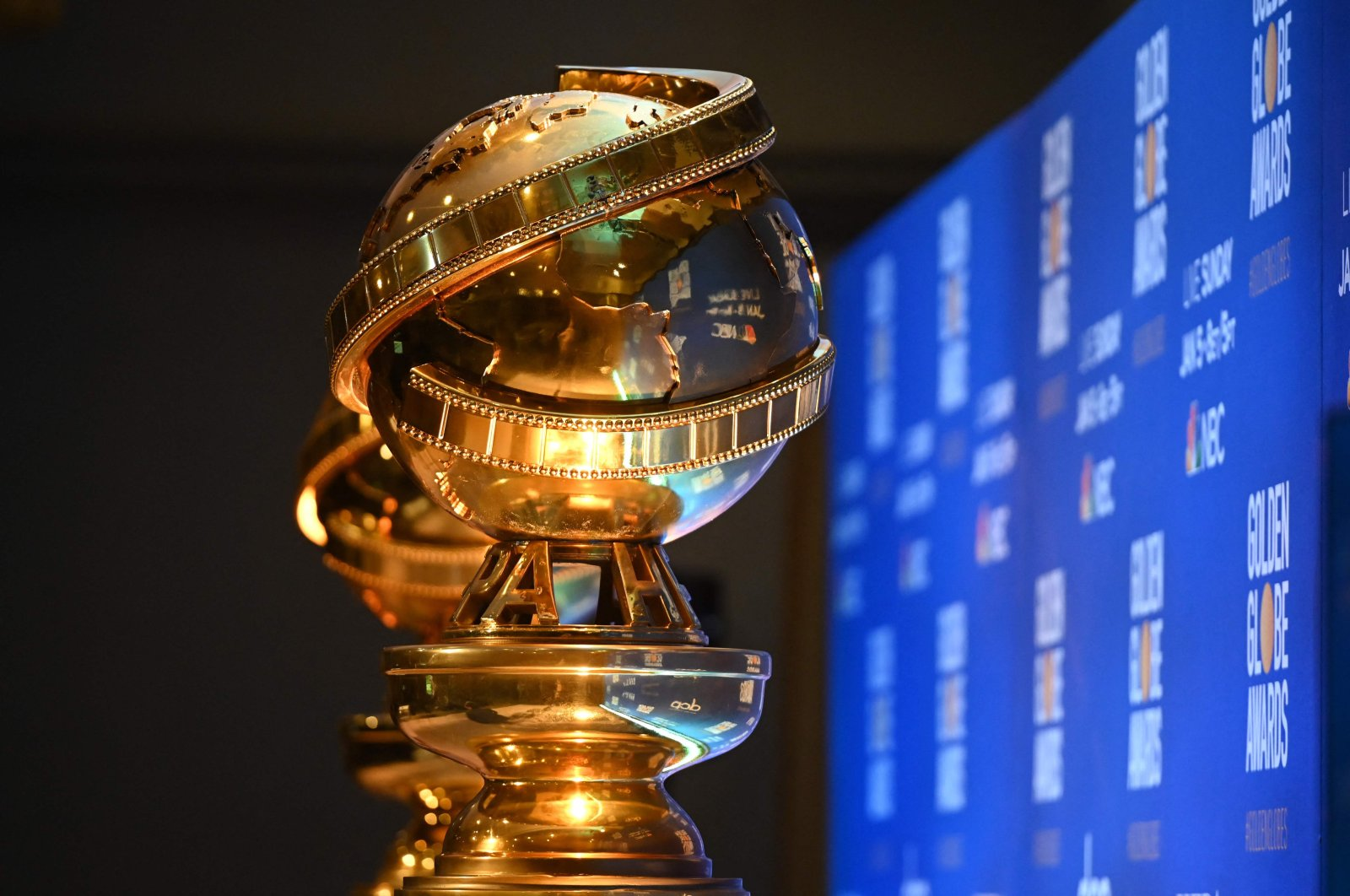 Golden Globe trophies are set by the stage ahead of the 77th Annual Golden Globe Awards nominations announcement at the Beverly Hilton hotel in Beverly Hills, California, the U.S., Dec. 9, 2019. (AFP Photo)