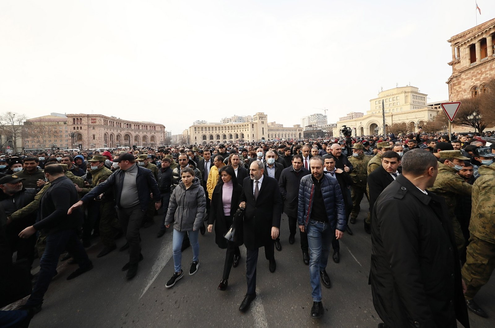 Armenian Prime Minister Nikol Pashinian (C) walks with his supporters to protest the coup attempt, Yerevan, Armenia, Feb. 25, 2021. (EPA Photo)