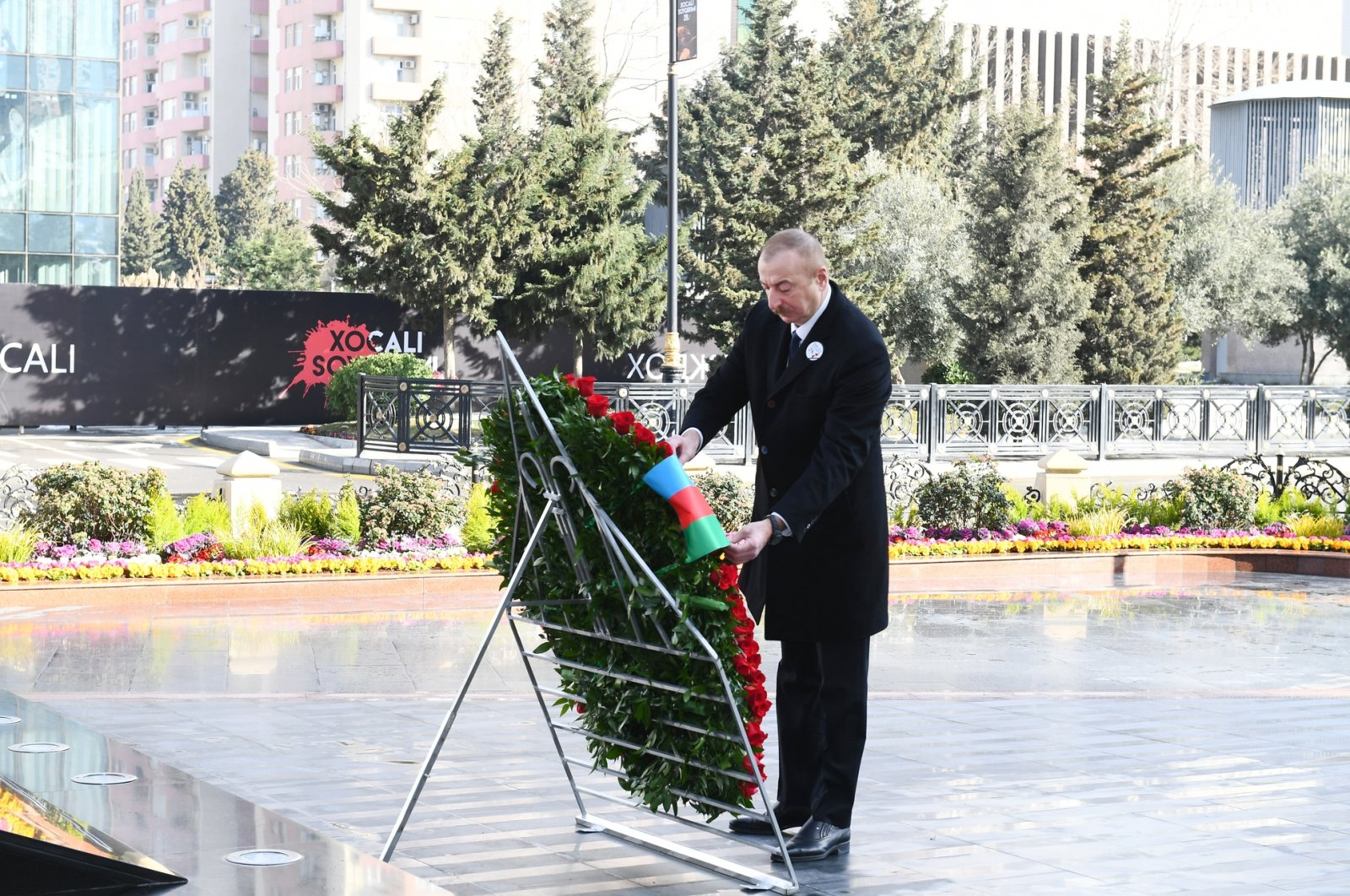 Azerbaijan's President Ilham Aliyev is seen during a ceremony to commemorate the 29th anniversary of the Khojaly Massacre in the capital Baku, Azerbaijan, Feb. 26, 2021. (AA Photo)