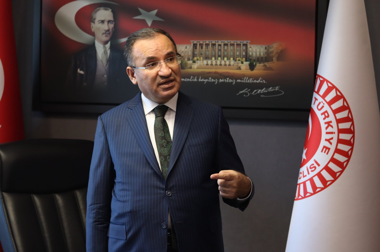 The head of the Turkish Grand National Assembly's (TBMM) Constitutional Commission, former Justice Minister Bekir Bozdağ, speaks during an interview with Daily Sabah, Ankara, Turkey, Feb. 24, 2021. (Photo by Daily Sabah)