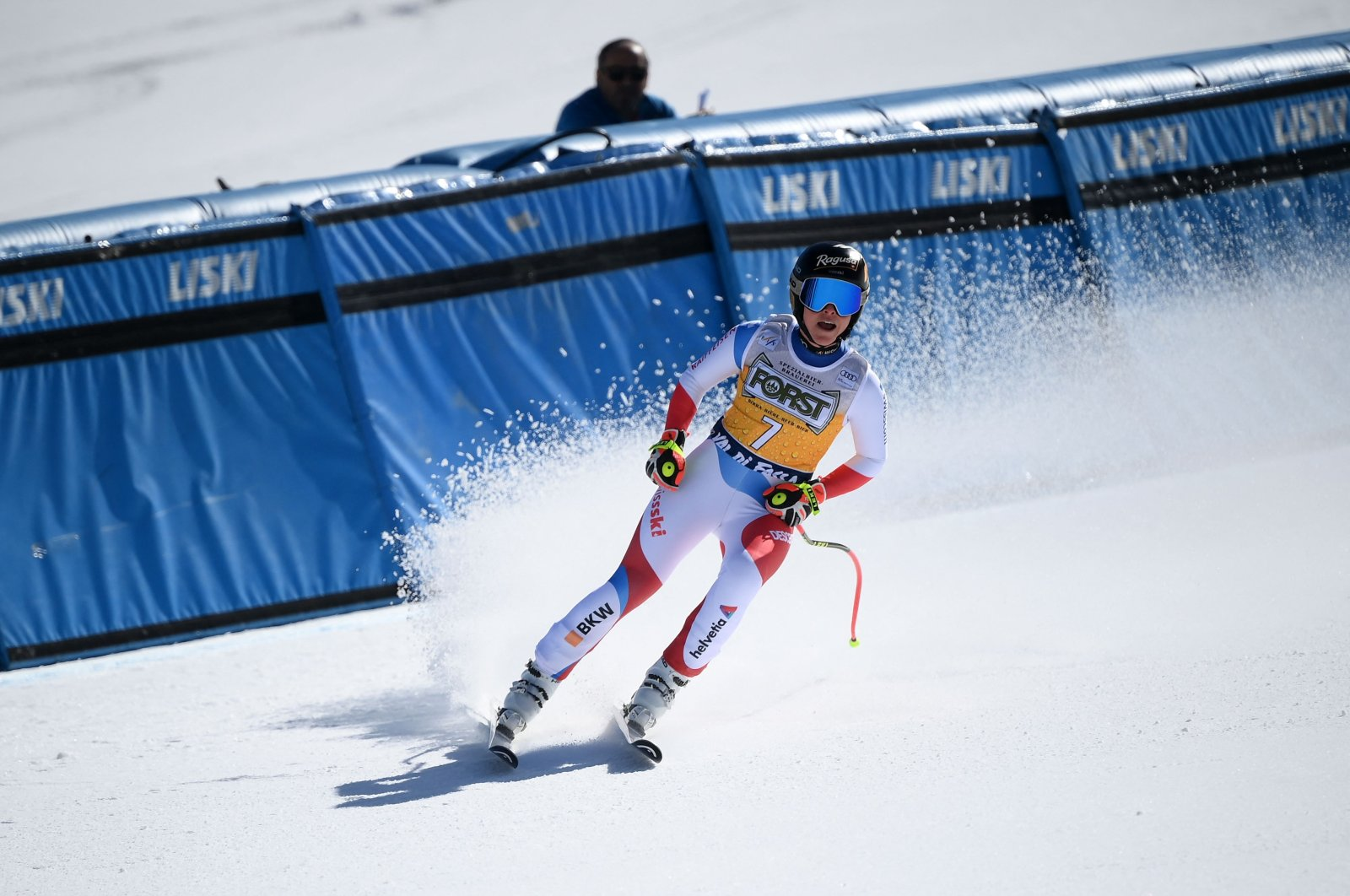 Lara Gut-Behrami reacts in the finish area during the race in Val di Fassa, Italy, Feb. 26, 2021. (AFP PHOTO)