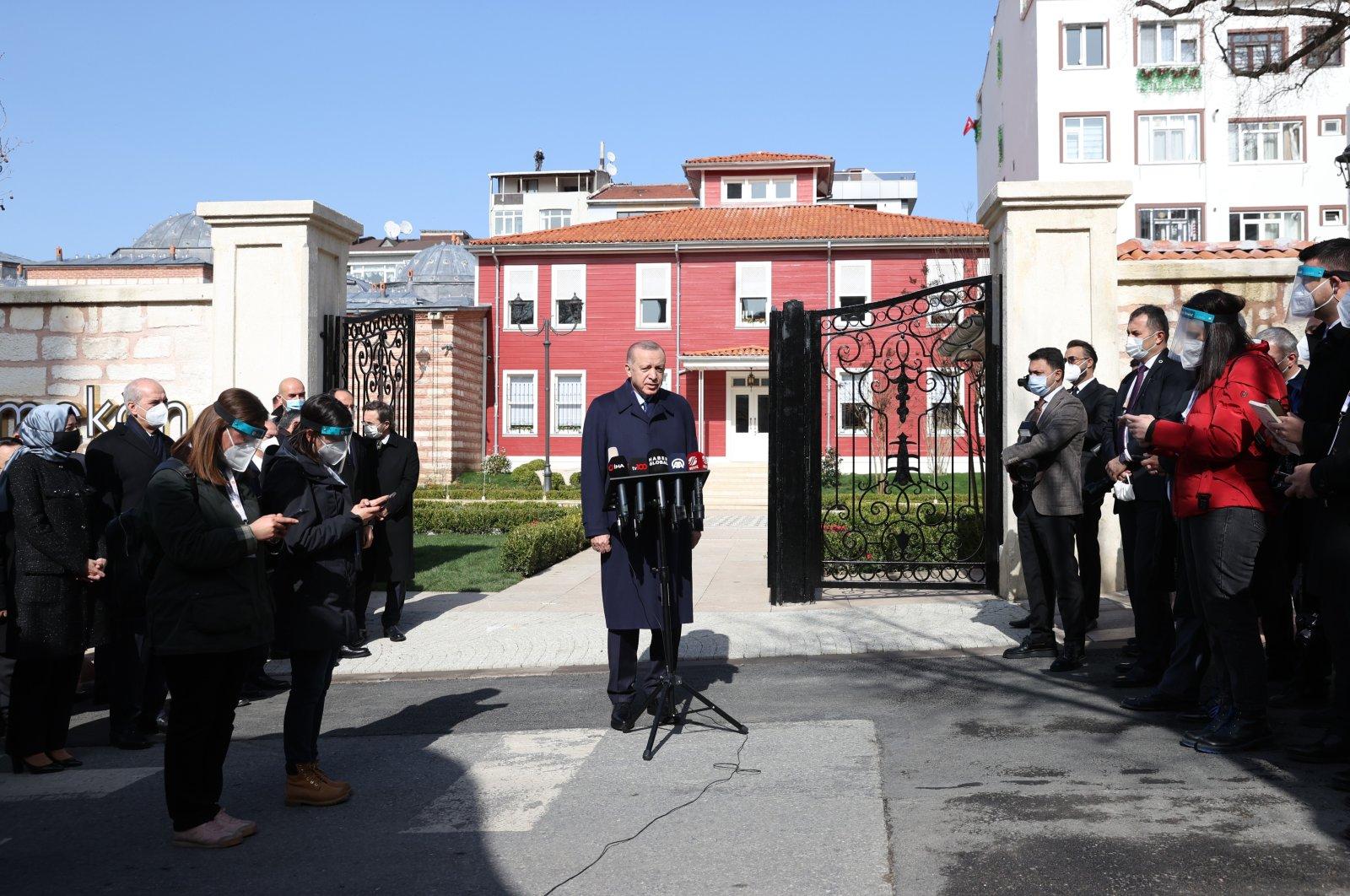 President Recep Tayyip Erdoğan speaks to reporters at the Grand Selimiye Mosque in Üsküdar district in Istanbul on Feb. 26, 2021 (IHA Photo)
