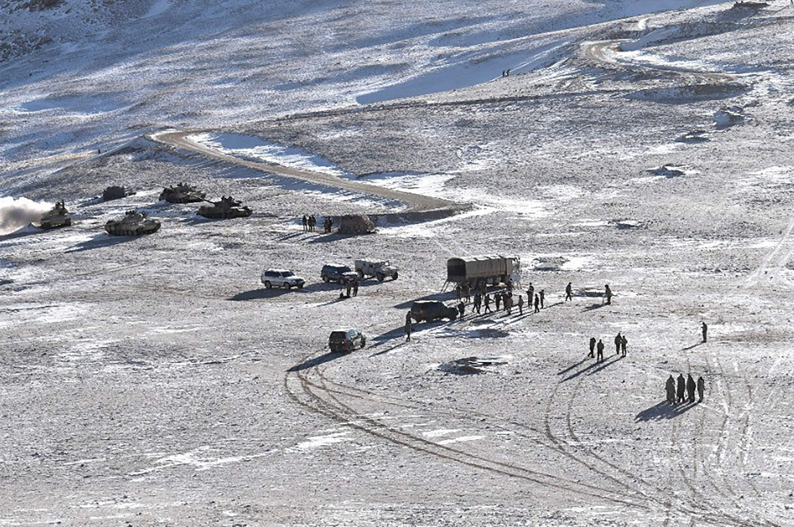 This undated handout photograph released by the Indian Army shows Chinese People Liberation Army (PLA) soldiers and tanks during military disengagement along the Line of Actual Control (LAC) at the India-China border in Ladakh, Feb. 16, 2021. (AFP Photo)