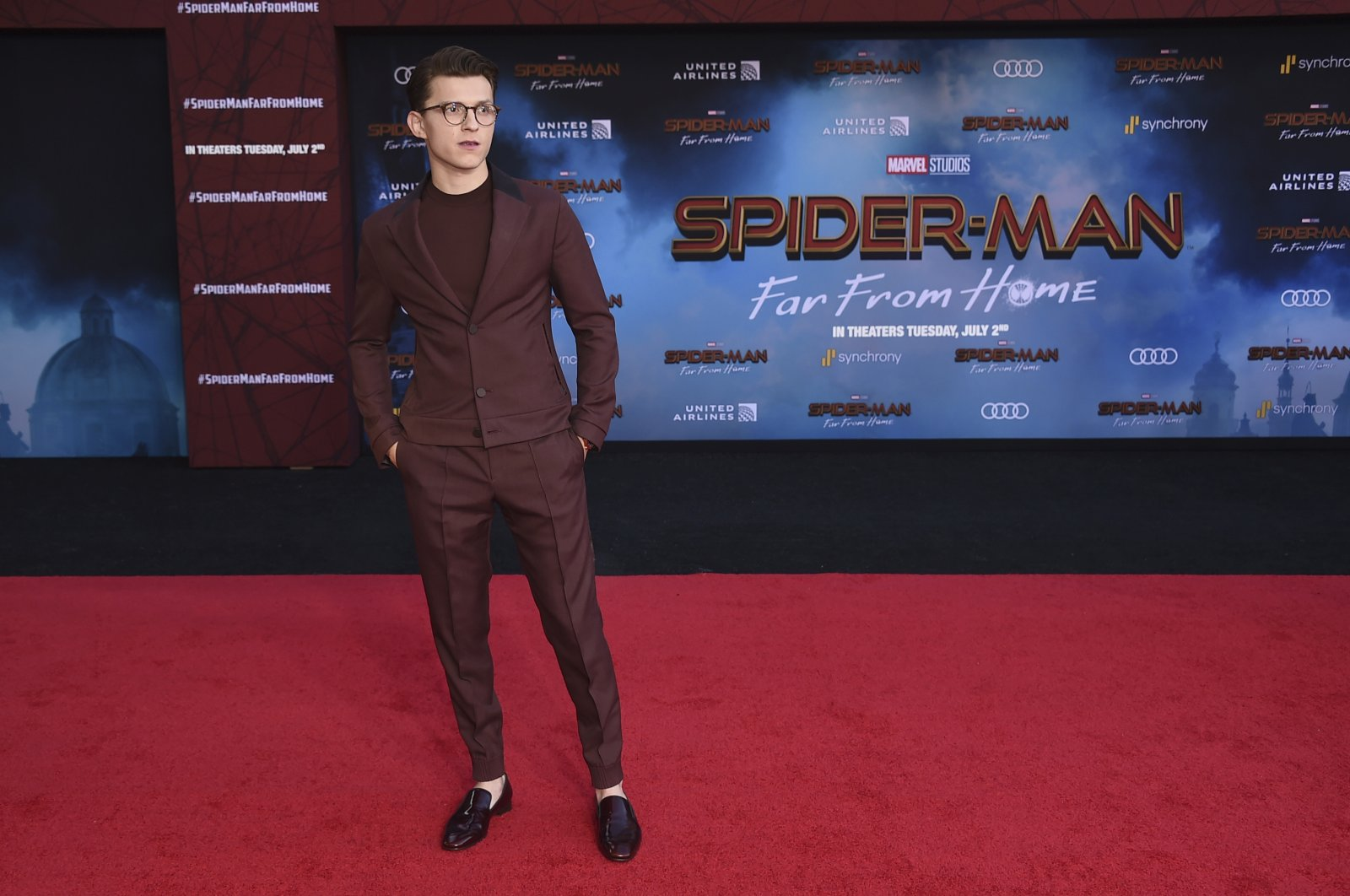 "Tom Holland arrives at the world premiere of ""Spider-Man: Far From Home,"" at the TCL Chinese Theatre in Los Angeles, U.S., June 26, 2019. (AP Photo)"