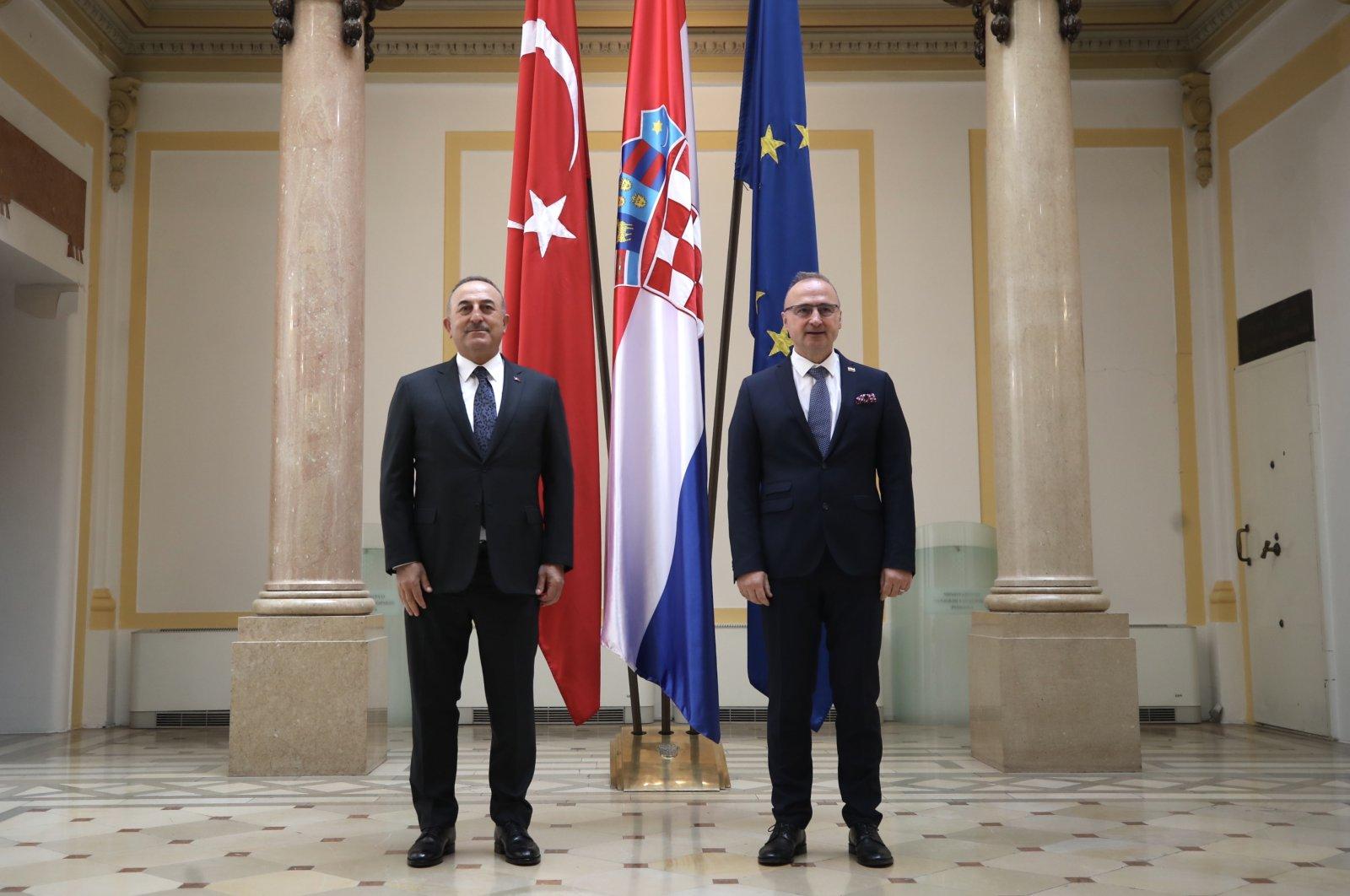 Foreign Minister Mevlüt Çavuşoğlu meets with his Croatian counterpartGordan Grlic Radman, Petrinja, Croatia, Feb.26, 2021. (AA)