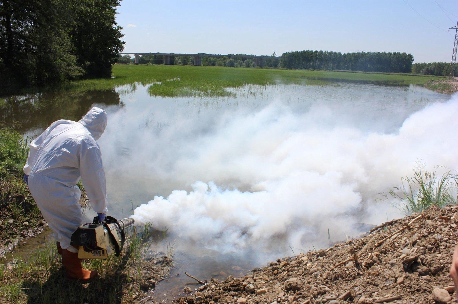 A municipality worker sprays pesticide to kill mosquitoes in Edirne, northwestern Turkey, July 16, 2015. (İHA PHOTO)