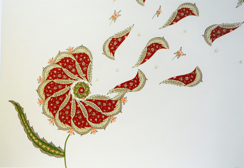 "Nagihan Seymour, ""Dandelion,"" mixed media, 60 by 72 centimeters. (Courtesy of Yunus Emre Institution)"