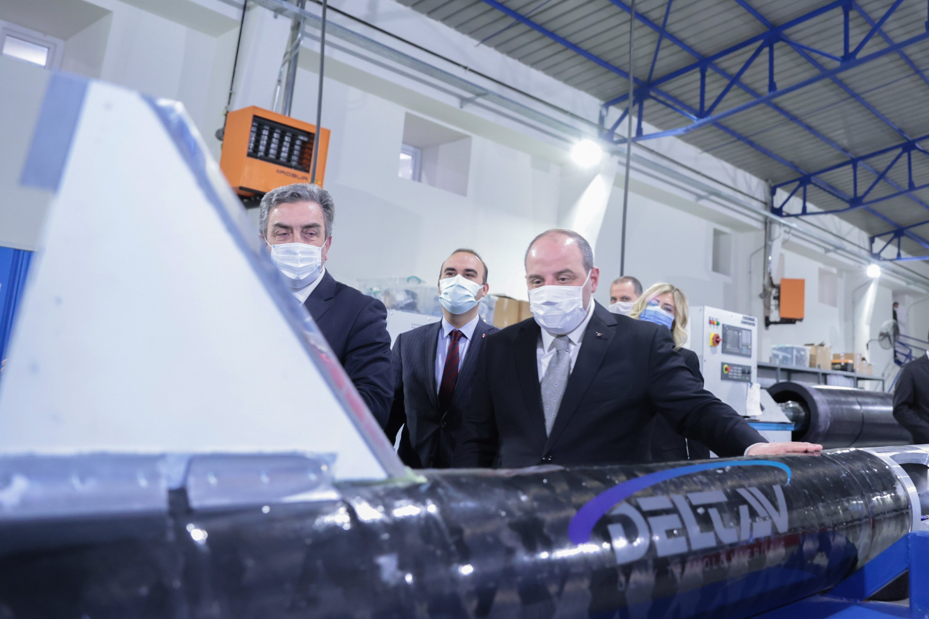 Industry and Technology Minister Mustafa Varank during a visit to Delta V Space Technologies' facilities in Istanbul, Turkey, Feb. 28, 2021. (AA Photo)