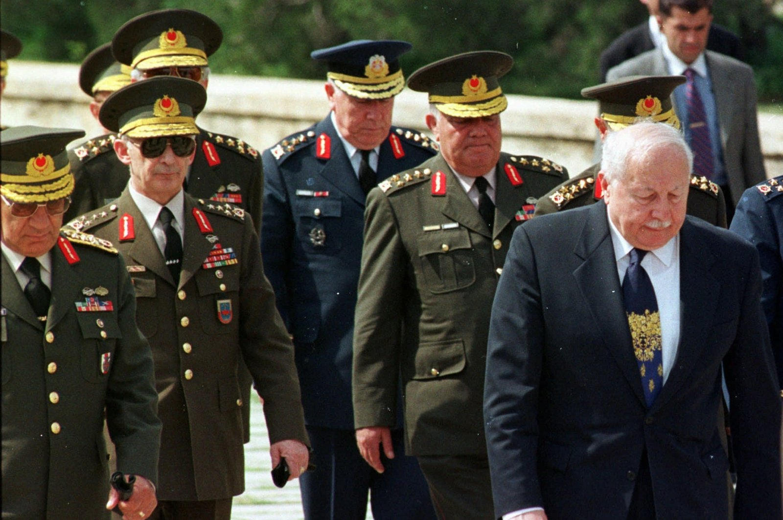 Then-Turkish Prime Minister Necmettin Erbakan, (R), and the country's top generals approach the mausoleum of Mustafa Kemal Atatürk, founder of the Turkish republic, May 26, 1997. (AP Photo)