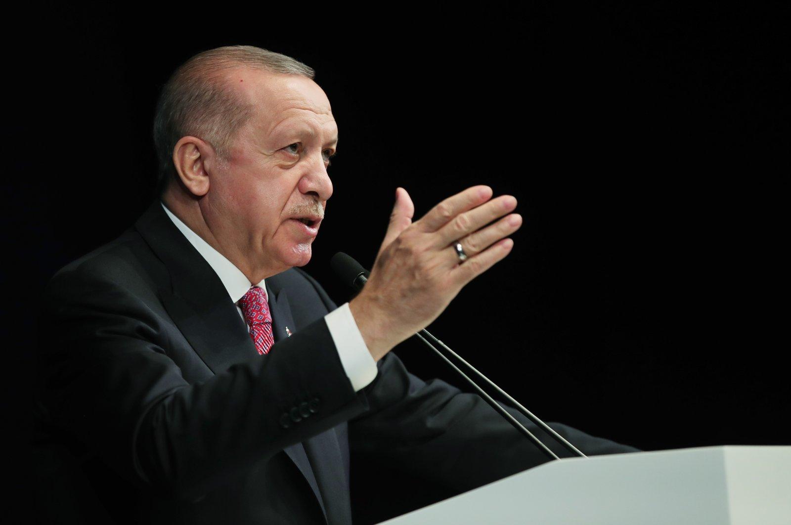 President Recep Tayyip Erdoğan speaks during the opening ceremony of the Atlas 1948 Theater in Beyoğlu, Istanbul, Turkey, Feb. 26, 2021. (AA File Photo)