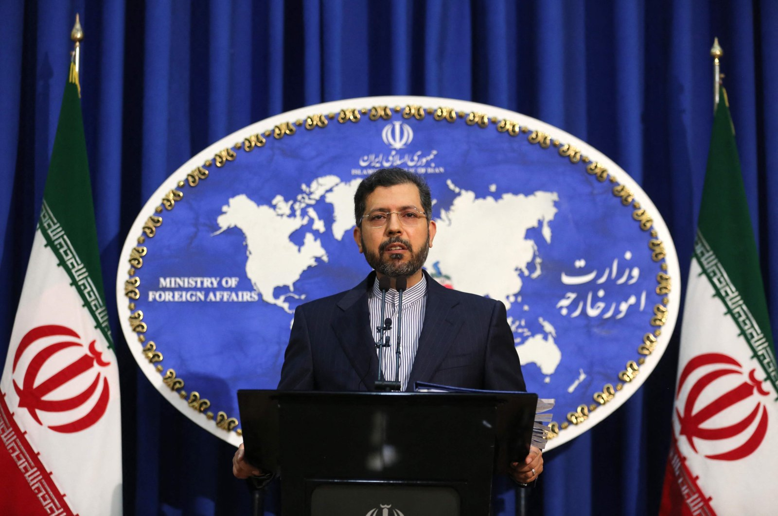 Iranian foreign ministry spokesman Saied Khatibzadeh speaks during a press conference in Tehran on Feb. 22, 2021. (AFP File Photo)