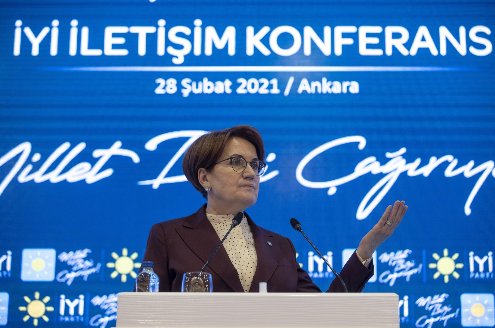 Good Party Chairperson Meral Akşener speaks at her party's Political Communication Conference in Kızılcahamam, Ankara on Feb. 28, 2021. (AA Photo)
